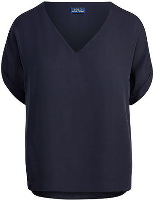 Polo Ralph Lauren Silk V-Neck Tee $165 thestylecure.com