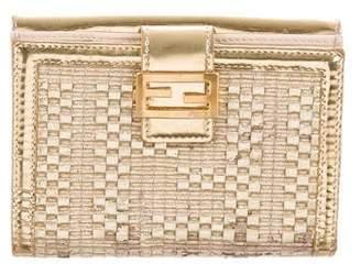 Fendi Metallic Leather Wallet
