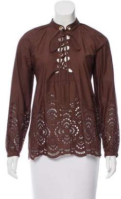 Gucci Lace-Up Eyelet Blouse