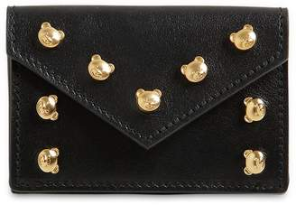 Moschino Teddy Stud Grained Leather Mini Wallet