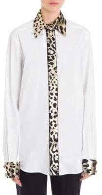 Dolce & Gabbana Leopard Print Trimmed Button-Front Shirt