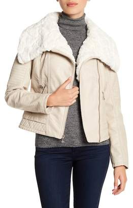 GUESS Faux Fur Collared Faux Leather Jacket