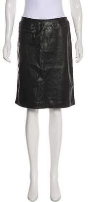 Prada Sport Leather Knee-Length Skirt