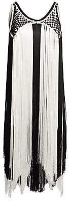 Alberta Ferretti Women's Woven Fringe Sleeveless Top