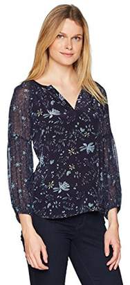 Velvet by Graham & Spencer Women's Kandee Floral Print Longsleeve Blouse