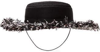 Eugenia Kim Brigitte Tweed-trimmed Hemp Boater - Black