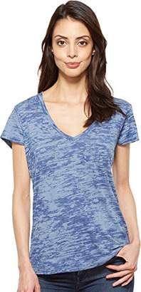 Alternative Women's Melange Burnout Jersey Slinky V-Neck Shirt
