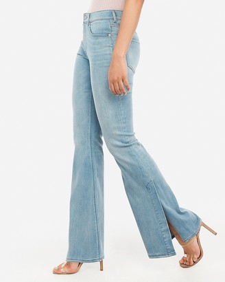 65d03a6f6f5 Express High Waisted Side Slit Bell Flare Jeans