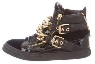 Giuseppe Zanotti Patent Leather Chain-Link Sneakers