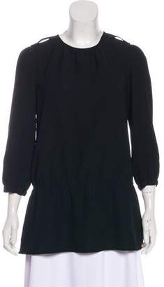 Burberry Ruched Three-Quarter Sleeve Top