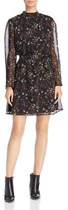 BB Dakota Jasmine Sheer-Sleeve Floral Print Dress