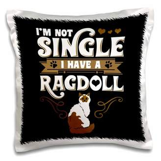 3dRose Im not Single I Have a Rag Doll Cat on Black Background Trendy Work - Pillow Case, 16 by 16-inch