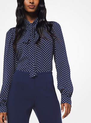 1ac6e3d9f6d896 Michael Kors Polka Dot Silk-Georgette Tie-Neck Blouse