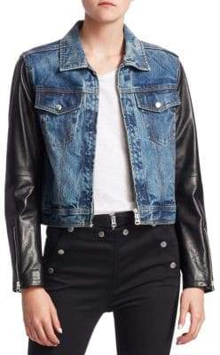 Rag & Bone Nico Leather& Denim Crop Jacket