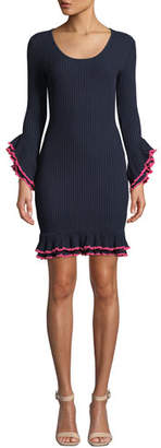 Milly Rib-Knit Ruffle-Sleeve Dress w/ Contrast Trim