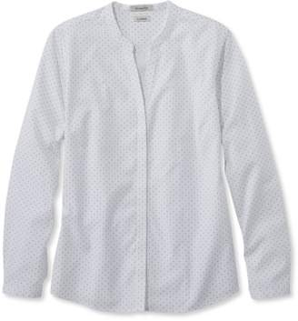 L.L. Bean L.L.Bean Wrinkle-Free Pinpoint Oxford Shirt, Long-Sleeve Splitneck Slightly Fitted Dot