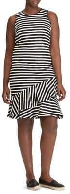 Lauren Ralph Lauren Plus Sleeveless Striped Asymmetric Dress
