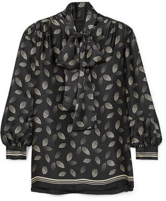 Anna Sui Pussy-bow Printed Silk-charmeuse Blouse - Black