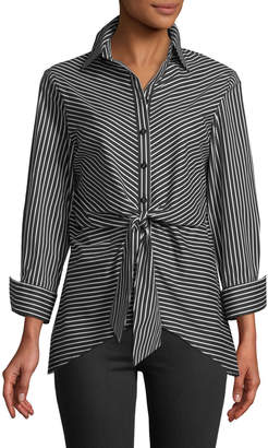 Neiman Marcus Striped Tie-Front Button-Front Blouse