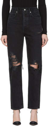 A Gold E Agolde Black 90s Mid-Rise Loose Fit Jeans