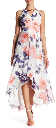 Sangria Surplice Neck Hi-Lo Floral Maxi Dress (Petite) $110 thestylecure.com