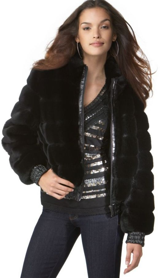 Nine West Jacket, Faux Fur Quilted