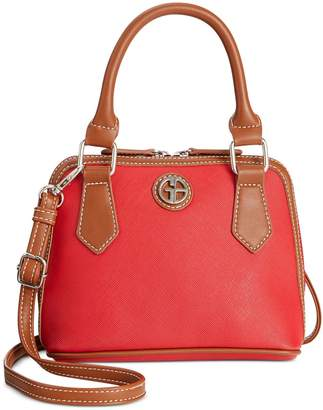 Giani Bernini Womens Faux Leather Convertible Dome Handbag Small