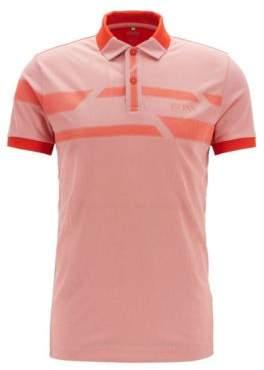 BOSS Hugo Printed polo shirt in moisture-wicking Oxford fabric L Dark Orange