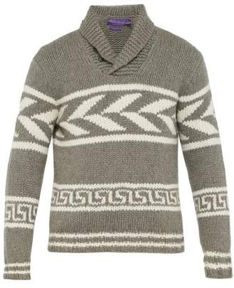 Ralph Lauren Purple Label Intarsia Knit Cashmere Sweater - Mens - Grey