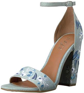 Sugar Women's Silck Flower Floral Embroidered Block High Heel Sandal