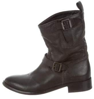 Belstaff Mid-Calf Leather Boots Black Mid-Calf Leather Boots