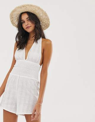 Fashion Union Sophana beach romper in white