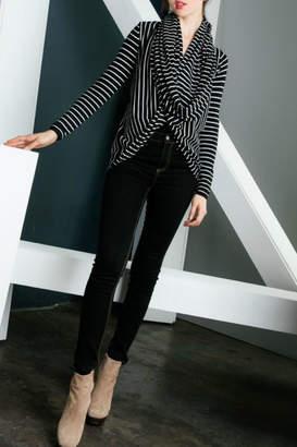 THML Clothing Striped Twist Cardigan
