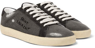 Saint Laurent Sl/06 Suede-Trimmed Distressed Coated-Canvas Sneakers