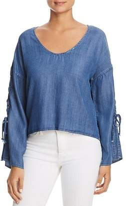 Velvet Heart Chambray Lace-Up Top