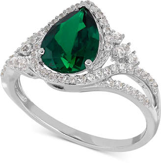 Macy's Lab-Created Emerald (1-3/4 ct. t.w.) and White Sapphire (3/8 ct. t.w.) Ring in Sterling Silver