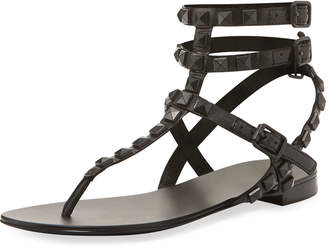 Ash Mumbai Studded Flat Sandals, Black