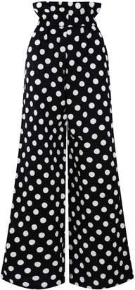 Zalinah White Regular Alyssa Polka Dot Smart Casual Paperbag Cotton Pants With Elasticated Waistline