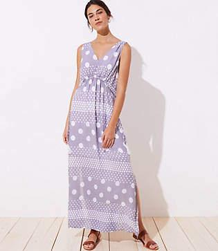 LOFT Beach Mixed Dot Drawstring Waist Maxi Dress