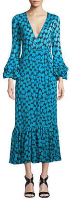 Diane von Furstenberg Printed Ruffle-Sleeve Silk Wrap Dress