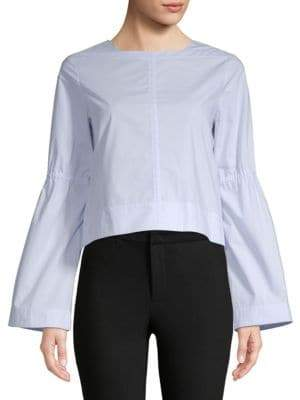 Derek Lam 10 Crosby Boxy Cotton Bell-Sleeve Top