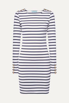 Melissa Odabash Agata Striped Stretch-jersey Mini Dress - Navy