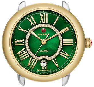 MICHELE Serein 16 Two-Tone Gold Green Diamond Dial Watch Head, 34mm $995 thestylecure.com