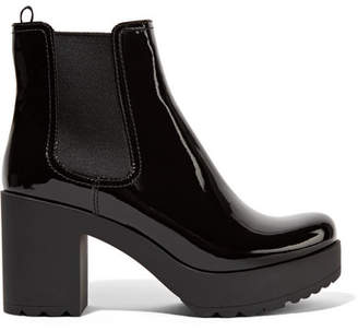 Prada Patent-leather Ankle Boots - Black