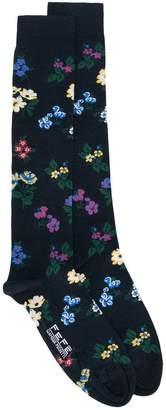 fe-fe floral intarsia socks