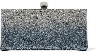 Jimmy Choo Celeste Glittered Canvas Clutch - Blue