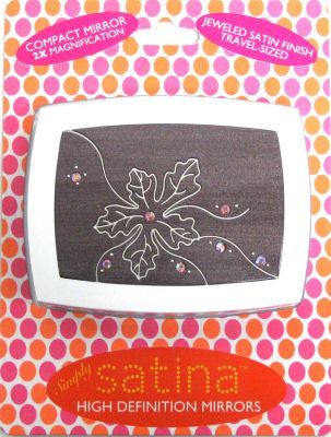 Satina Flower Jeweled Travel-sized Compact Mirror 2x