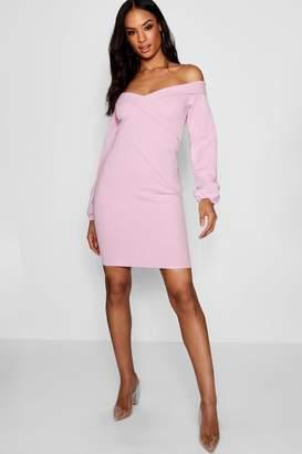 boohoo Tall Off The Shoulder Blazer Dress