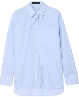 Cédric Charlier Oversized Pintucked Striped Cotton-poplin Shirt - Light blue