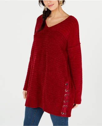 Style&Co. Style & Co Chenille Lace-Up Tunic Top
